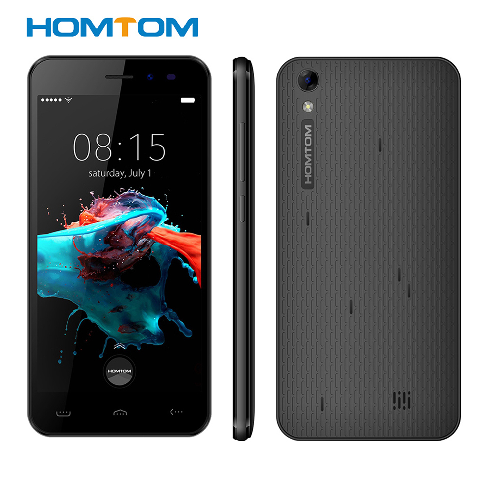 Homtom HT16 Android 6,0 5,0 ''3G Smartphone MTK6580 Quad Core 1,3 GHz teléfono móvil 1 GB + 8 GB despertador GPS BT 4,0 Dual levas teléfono móvil