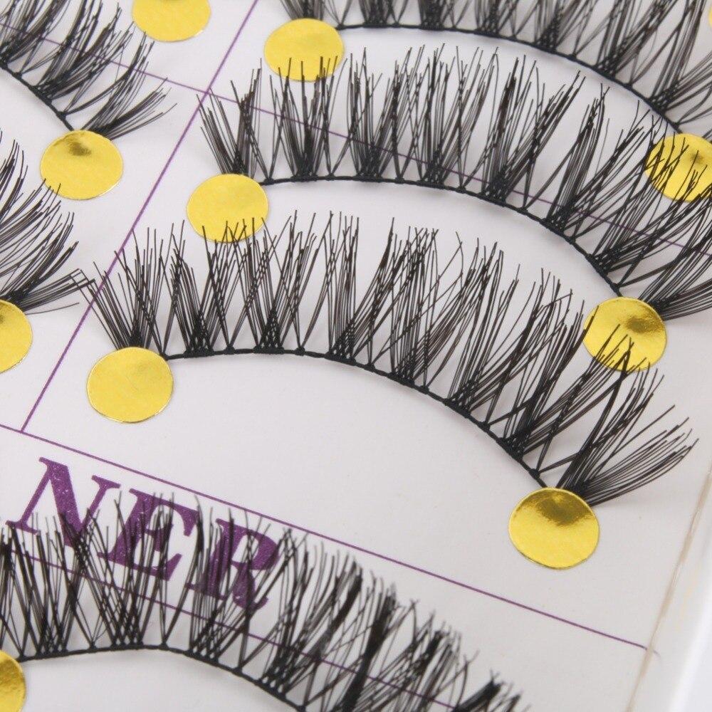 Long Thick Cross False Eyelashes Natural Makeup Fake Black Eye Lashes 10 Pairs