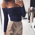 2017 Fashion Women Sexy White / Black Slash Neck Long Sleeve T Shirt Women Tops Strapless Bare Shoulder Top Girl T-shirt