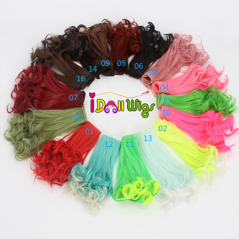 1pcs 25*100cm Water Wave Curly Synthetic hair wefts Bright Colors Red Green Blue for <font><b>1</b></font>/3 <font><b>1</b></font>/<font><b>4</b></font> <font><b>1</b></font>/6 <font><b>BJD</b></font> DIY <font><b>Wigs</b></font> doll Accessories image