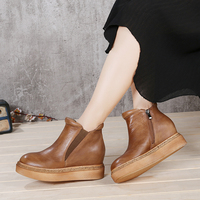 2019 VALLU Genuine Leather Shoes Flat Platform Women Boots Round Toes Retro Handmade Ankle Boots