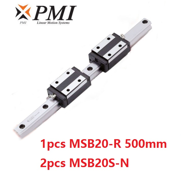 1pcs Taiwan PMI MSB20-R 500mm linear guide rail and 2pcs MSB20S-N Block Carriages for CO2 laser machine CNC router MSB20SSSFCN1pcs Taiwan PMI MSB20-R 500mm linear guide rail and 2pcs MSB20S-N Block Carriages for CO2 laser machine CNC router MSB20SSSFCN