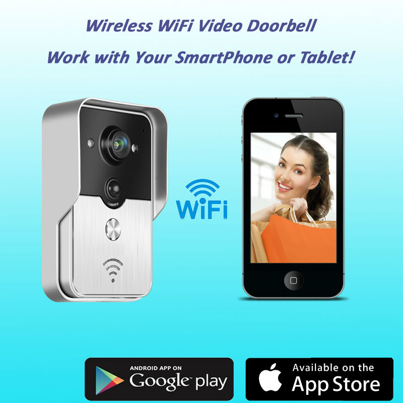New Wifi video intercom/wifi wireless video door phones (App can be run in Android and IOS devices )DHL&EMS free shipping