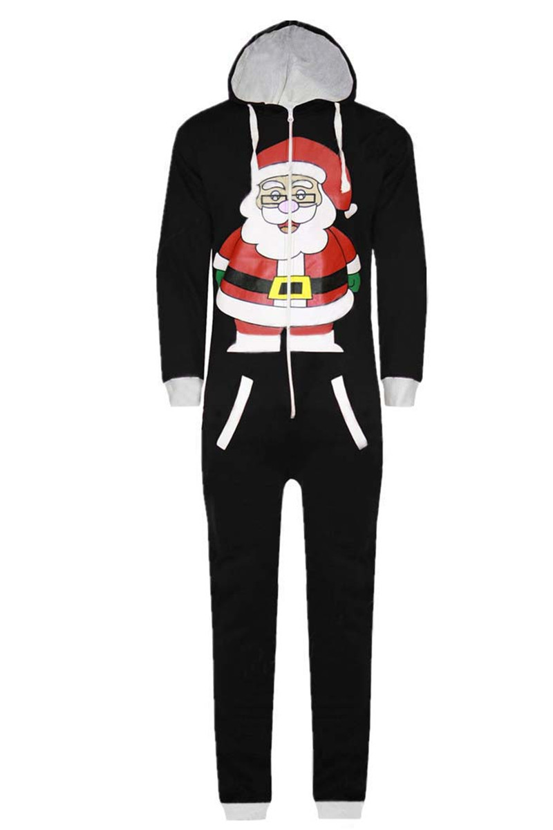 Xmas New Year Gift Adults Christmas Fancy Santa Claus Onesies Black Pajamas Christmas Halloween Party Clothing Festival Costumes