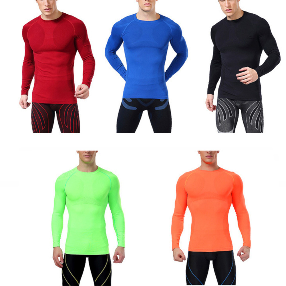 Men Long Sleeve Compression Under Base Layer Gym Thermal Skin Tights Top Shirt