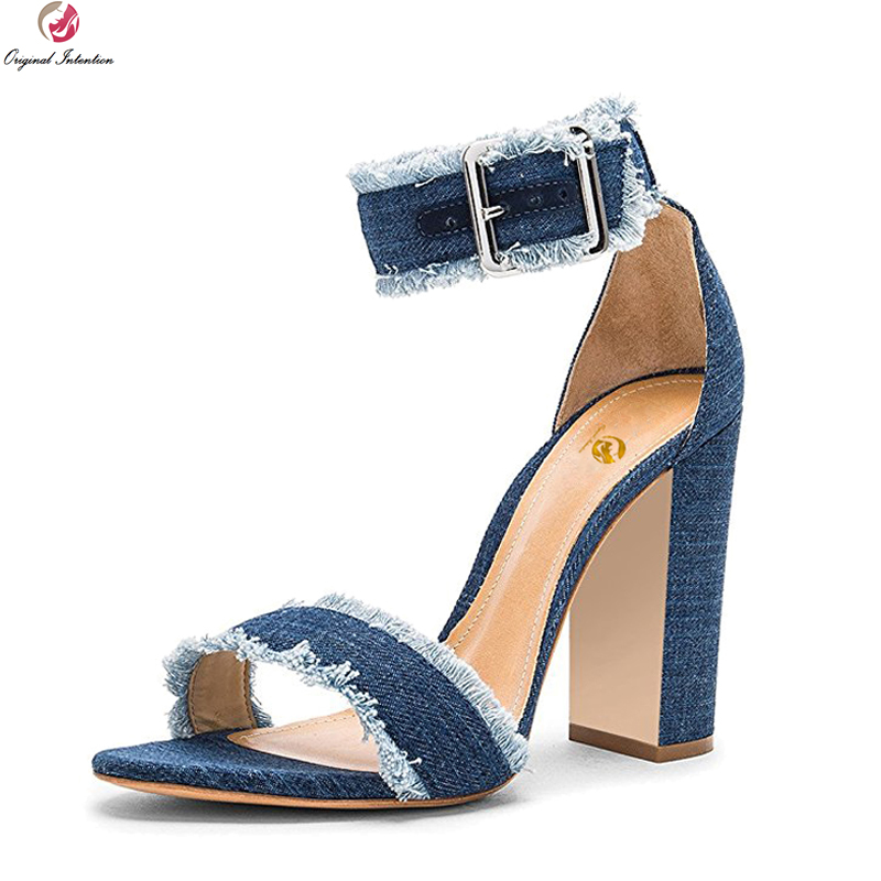 цены Original Intention Women Sandals Sexy Open Toe Chunky Heels Sandals High-quality Black Blue Brown Shoes Woman Plus US Size 4-15