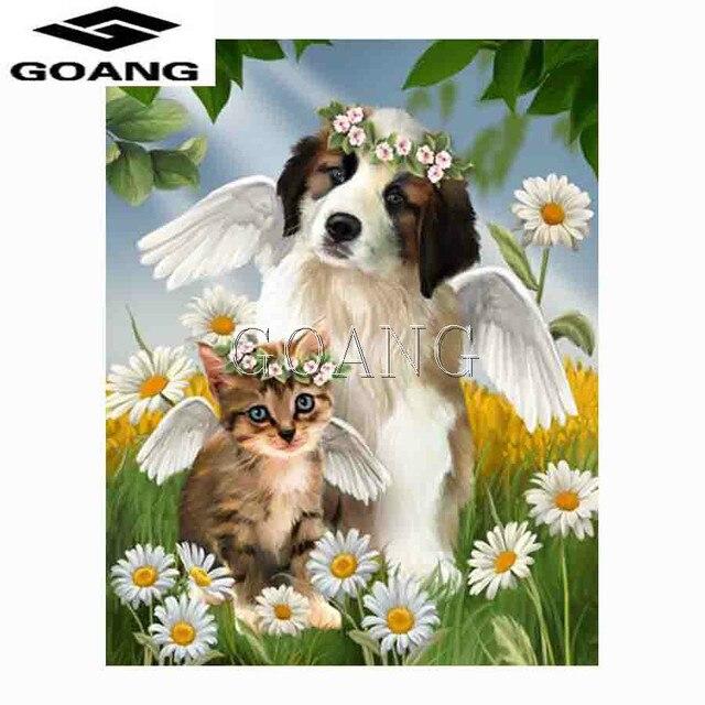 Goang bricolage diamant peinture 3d diamant broderie mignon chat chien et fleur couture strass point