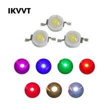 100Pcs 1W High Power LED Chip Warm White Red Green Blue Yellow Full Spectrum For LED Spotlight 260-350mA Lamp Light Beads Diode цена