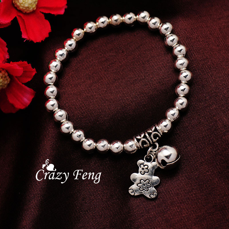 Free shipping Cute Bear Romantic Valentine's Day Jewelry Gift Newfangle Silver Color Stretchy Chain Bracelet For Women