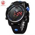 2016 venda hot top fashion homens relógio ohsen casuais marca horloges mannen multifunction dual time relógios de pulso esportes dos homens