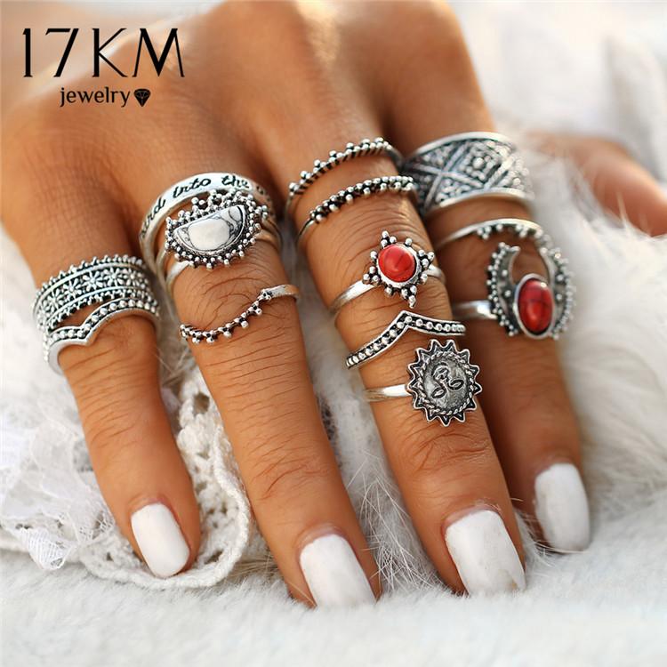 HTB1yM_hQXXXXXarXpXXq6xXFXXXQ Hip 14-Pieces Tribal Boho Vintage Silver Moon And Sun Knuckle Ring Set For Women
