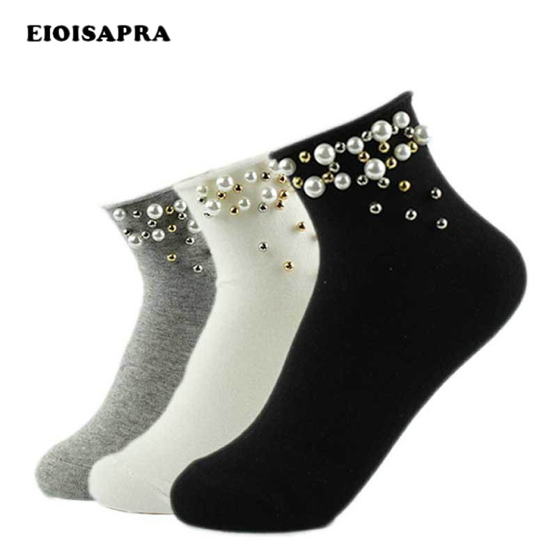 [EIOISAPRA]Pearl Gold Silver Handmade Cute Socks Fashion Cotton Edge Socks Women Funny Short Sokken Girl Harajuku Calcetines