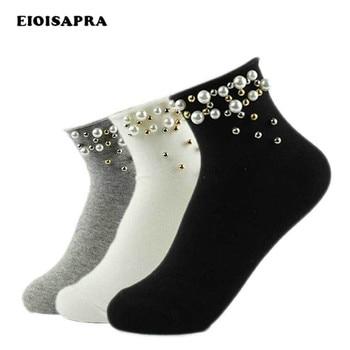 [EIOISAPRA]Pearl Gold Silver Handmade Cute Socks Fashion Cotton Edge Women Funny Short Sokken Girl Harajuku Calcetines - discount item  42% OFF Women's Socks & Hosiery