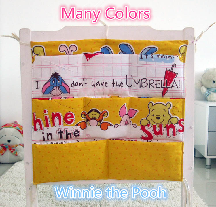 Promotion! Cartoon 62*52cm Baby Bed Hanging Storage Bag Newborn Crib Organizer Bags,Baby Bedding Set