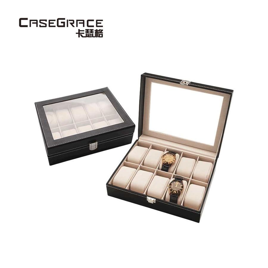 Casegrace подушечки и губки изысканный дизайн ручной работы Экологичные Искусственная кожа большой емкости Женские часы коробка для хранения