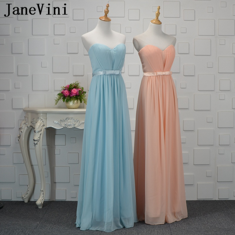JaneVini 2018 Simple Chiffon Long   Bridesmaid     Dresses   A Line Sweetheart Backless Floor Length Maid of Honor Gowns Robe Mousseline