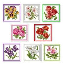 Маленькие счастливые цветы DIY Набор для вышивания крестиком маленький размер цветы Семейные декоративные узоры Наборы для вышивания рукоделия