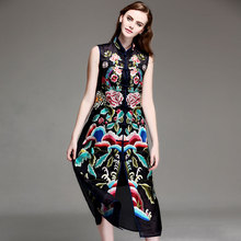 Plus size 3xl women summer flower embroidery sleeveless long casual vintage ethnic silk organza dress casual beach dresses 9809