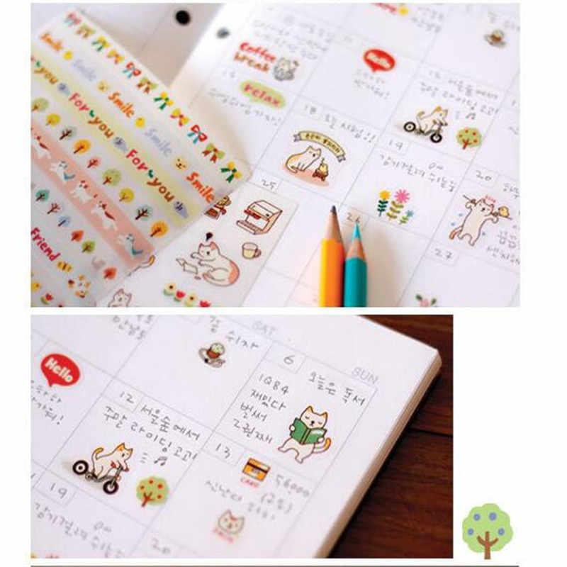 6pc 韓国の文房具かわいい猫日記デコレーションステッカーセット漫画の動物のステッカーステッカー DIY アルバムアクセサリーステッカー