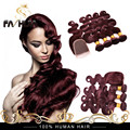 Brazilian Virgin Hair Burgundy Weave Body Wave 99j Brazilian Hair 8A Red Wine Human Hair 4 Bundles Purple Weave With 4x4 Closure