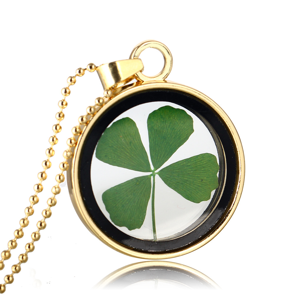 Green lucky shamrock necklace four leaf clover charm emerald green - Natural New Fashion Really Green Lucky Shamrock Four Leaf Clover Round Pendant Necklace Couple Gift N613