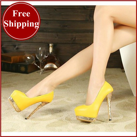 2014 brand women wedding shoes yellow bottoms platform wedge high heels sexy woman pumps ladies bridal
