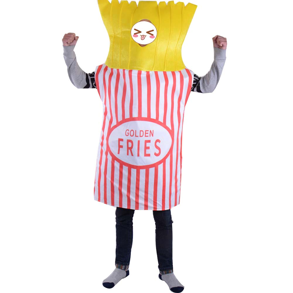 Brilliant Food Fun Fancy Dress Golden Fries Potato Chips French Fries Mascot Outfit Halloween Party Costume Adult One Size Fits All