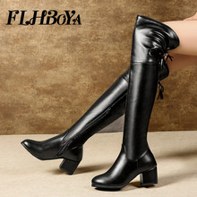 цена на 2019 Women Winter New Fashion Over Knee Tigh High Riding Boot Warm High Thick Heels Elastic Stretch Shoes Ladies zip Long Boots