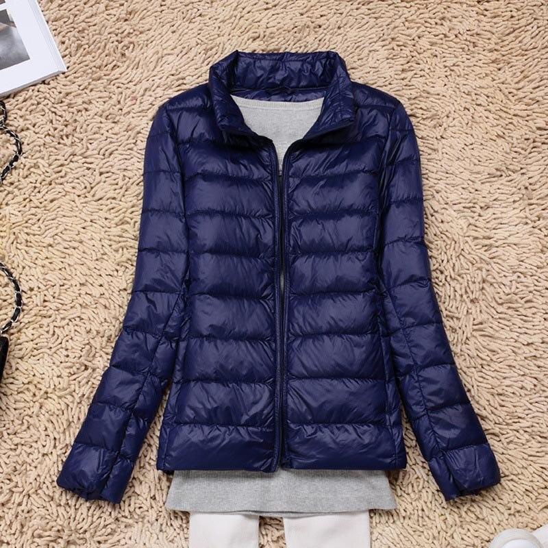 Blue   Down     Coat   Women 2019 Winter Short Parka White Duck Cotton   Coats   Casual Long Sleeve Female Outerwear Warm Jacket Ladies   Coat