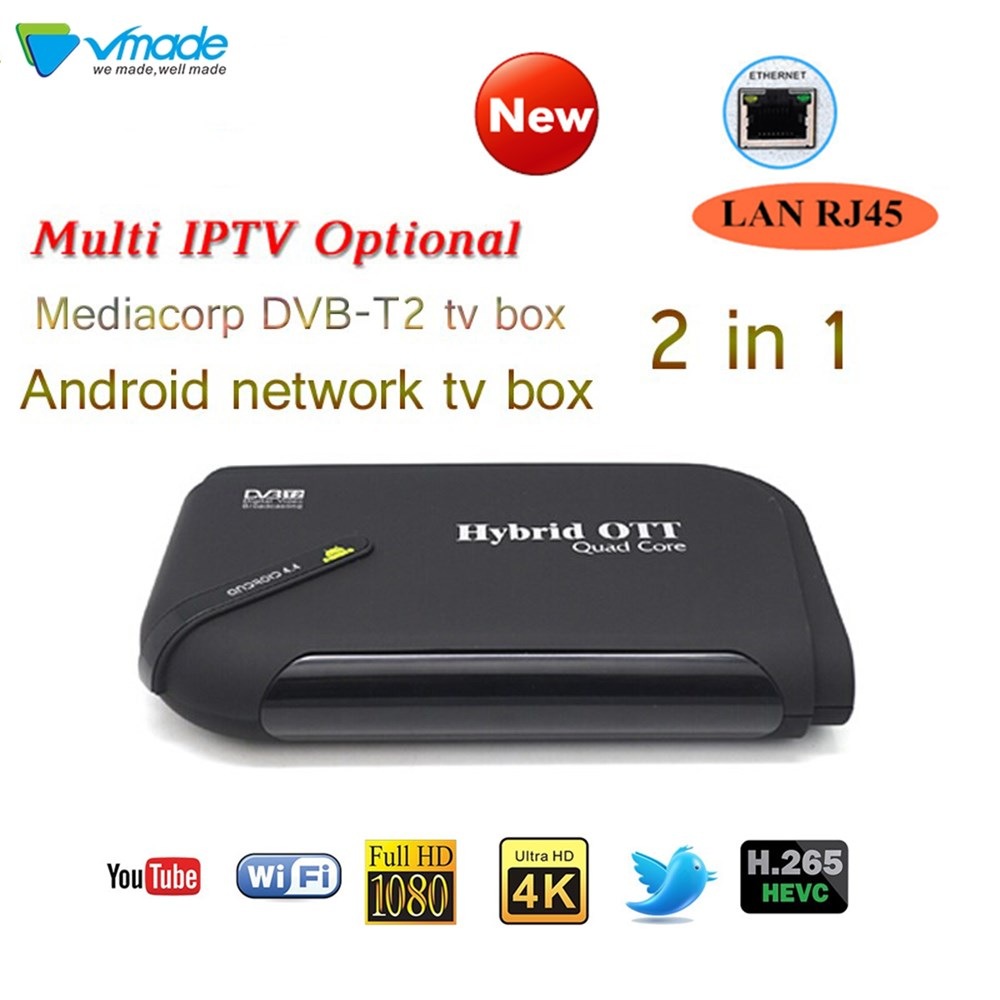 Best Android S905D With DVB-T2 Amlogic 7.1OS Quad Core Two In One TV Receiver Full Hd TV BOX  Multiple APPS 4K Display Tv Box