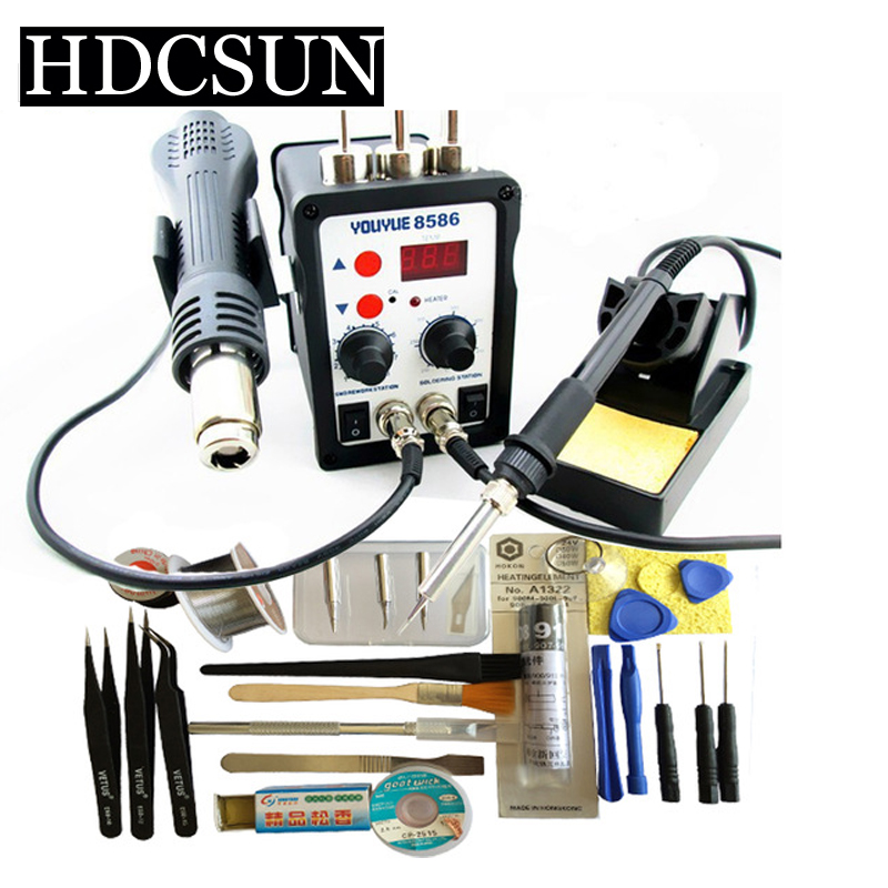 hihg quality YOUYUE 8586 110V / 220V 700W 2 in 1 SMD Rework Soldering Station Hot Air Gun + Solder Iron With Free Gifts dhl free shipping hot sale 220v hakko fx 888 fx888 888 solder soldering iron station with 10 free tips 900m t