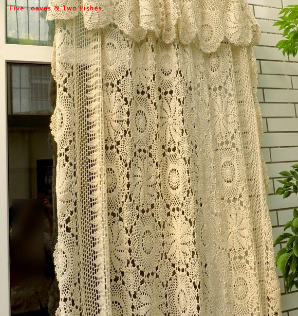 handmade crochet flowers woven cotton lace curtains beige bed