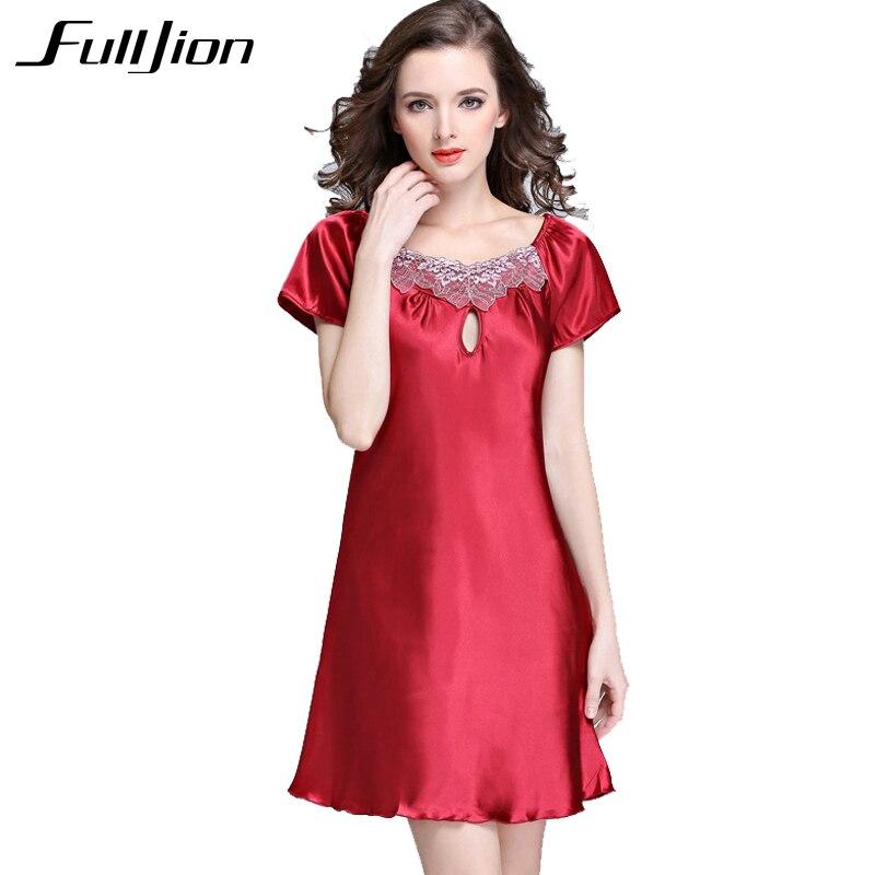 Fulljion Womens Sexy Lingerie Satin Silk Night Dress Plus Size S~4XL Sleepwear short sleeve Lace Nightgown Elegant Summer Dress