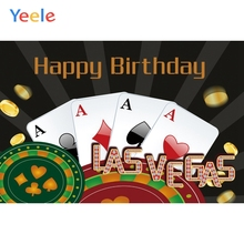 Yeele Las Vegas Playing Cards Gold Roulette Birthday Photography Backgrounds Customized Photographic Backdrops for Photo Studio