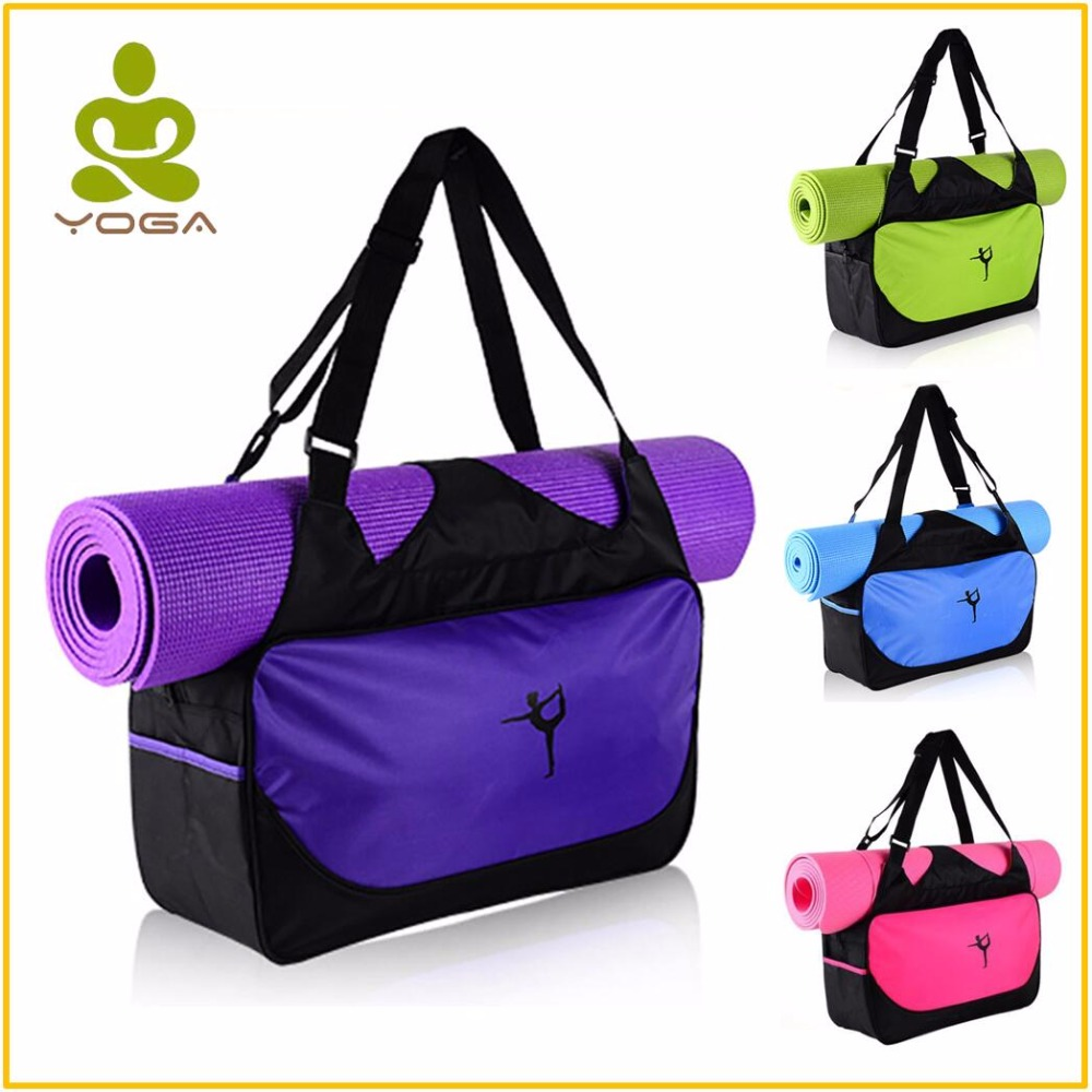 Calidad multifuncional impermeable Yoga bolsa para gimnasio alfombra de Nylon mochila hombro portadores de Yoga Pilates Mat bolso no estera de Yoga