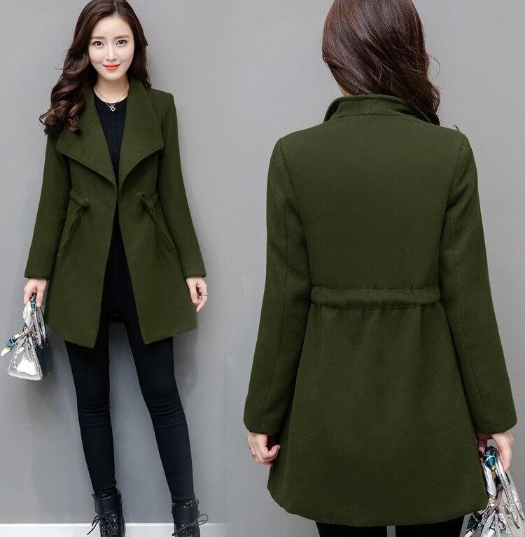 4xl plus big size jackets women spring autumn winter 2017 feminina fashion new ties thin woolen cloth long coat female A4500