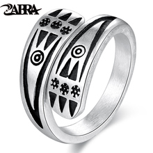 ZABRA Genuine 925 Sterling Silver Rings For Men Frosting Resizable Vintage Punk Rock Ring Simple Pattern Jewelry For 2018