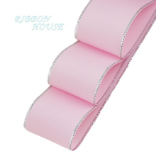 (10 yards/lot) Silvery Edge Pink Grosgrain Ribbon Wholesale Gift Wrapping Christmas ribbons(China)