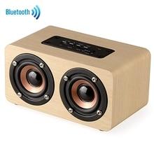 Altavoz Bluetooth de madera portátil con sonido estéreo HIFI, altavoz inalámbrico Retro artesanal de 1500 mAh con micrófono TF AUX Play