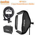 Godox Ajustable Flash Softbox 40*40cm 40x40 + S type Bracket Mount Kit voor Flash Speedlite studio Schieten voor Canon Nikon Sony