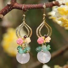 FARLENA Original design Handmade Semi-precious Stone Dangle Earrings for Women Vintage Ethnic Onyx Drop Earring long