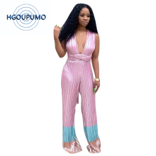 Pink Blue Pleated Rompers Women Jumpsuit Deep V Neck Sleeveless Long Wide Leg Bodysuit Casual Cross Backless Full Length Overall sleeveless pleated jumpsuit