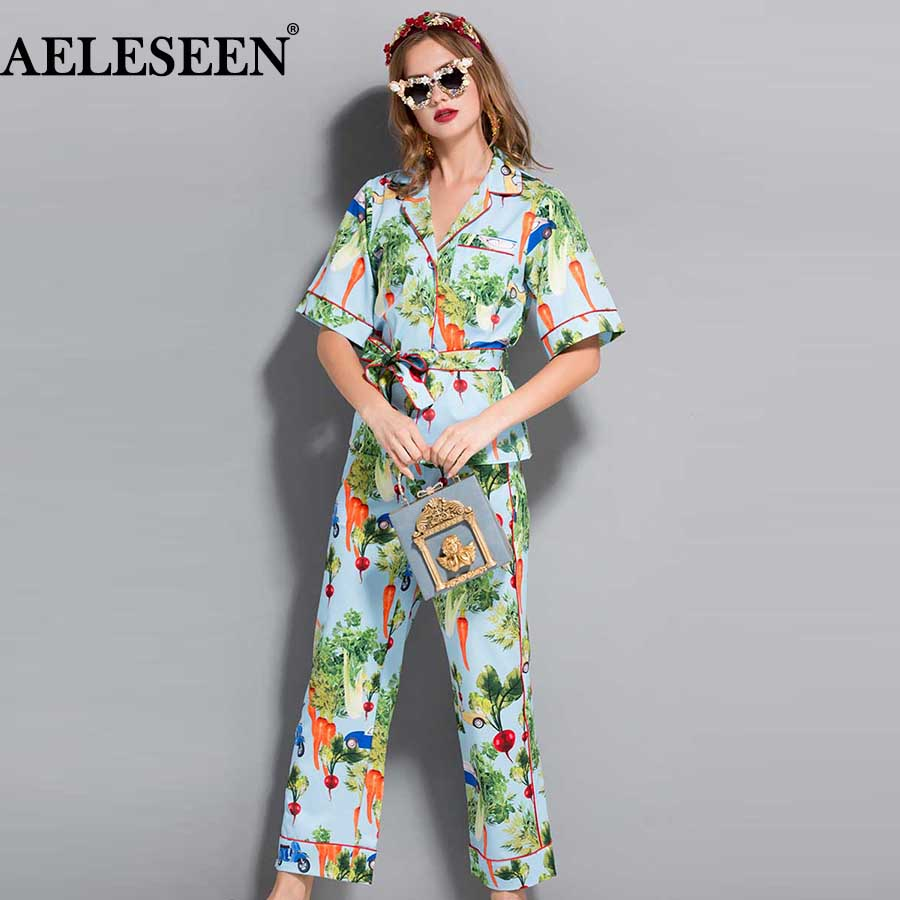 AELESEEN New Summer Women Sets Fashion 2018 Pajamas Vegatable Print Sashes Top XXL Prairie Chic Loose
