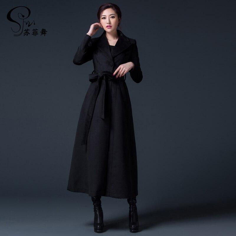 En 2018 Col Automne Noir Rabattu Manteau Mode Hiver Long Grande rouge Outwear Femmes Dames Laine Taille Cachemire ICAIq