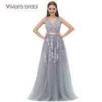 A Line Evening Dress Vivian S Bridal Tank V Neck Lace Tulle Formal Evening Gown Vestido