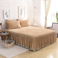Khaki Gray Pink Red luxury Crystal velvet Cotton Fleece Fabric Thick Bed Skirt bedding set lace edge bedspread pillowcases 3pcs