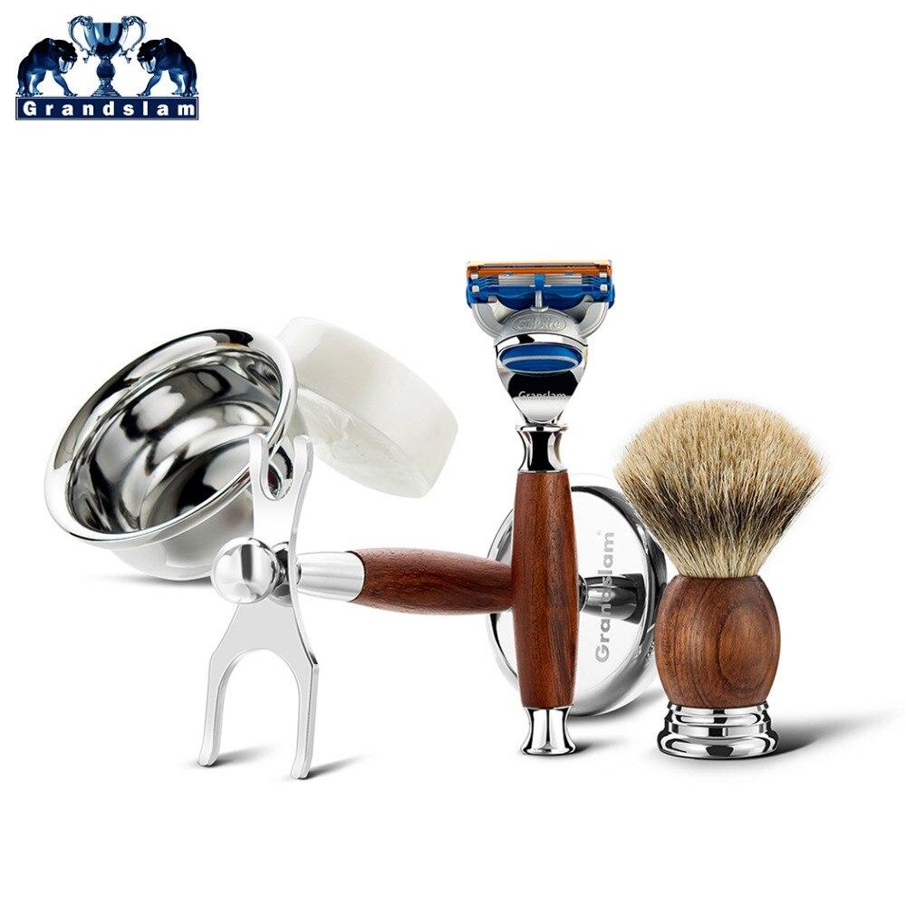 Grandslam Boyfriend rasage sécurité rasoir cadeau Kit cartouche 5 couches lame rasoir blaireau cheveux rasage brosse crème savon bol Se - 3