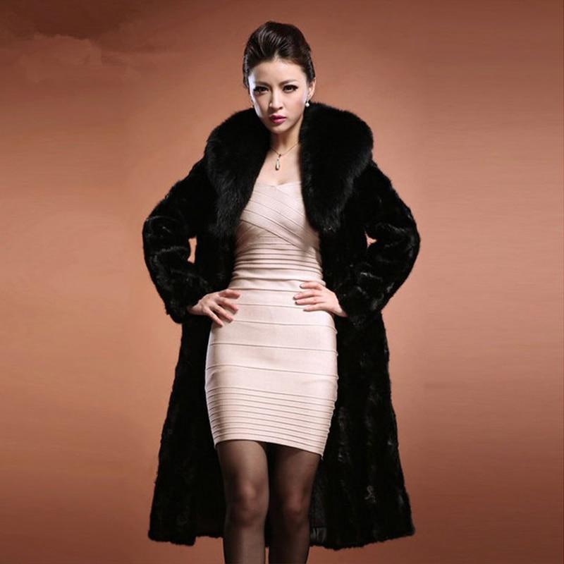 HONGZUO 2017 Winter Thick Warm Faux Mink Fur Coat With Fur Collar Women Luxury Fur Coat Long Black Jacket Overcoat PC080