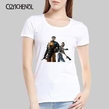 цена на Fashion Half life customize print tshirt  women Model O-neck casual top solid color tshirt regular short sleeves tee homme