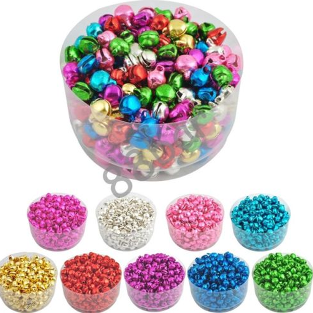 Approx 100 Small Mixed Colour Aluminium Christmas Jingle Bells Charms 6mm Crafts